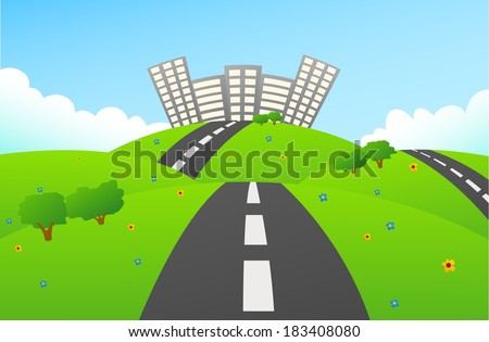 Road to Green City On Hills - stock vector