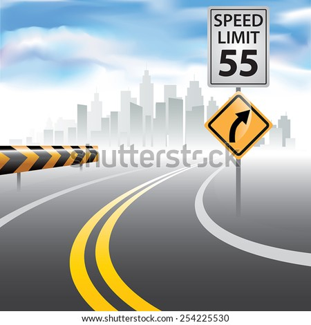 Road to horizon with a speed limit sign on a side. Vector illustration - stock vector