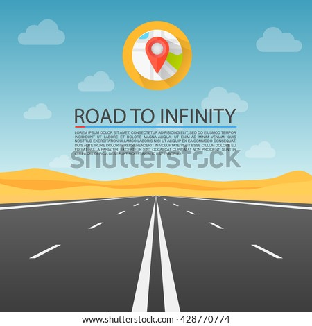 Road to infinity highway, Road in the desert, Vector illustration, Road background. - stock vector