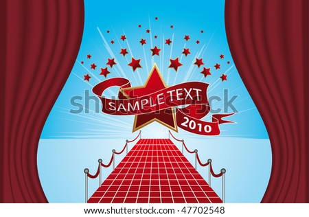 Road to stars - stock vector