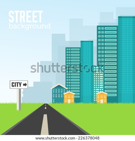 road to the city on flat style background concept. Vector illustration design - stock vector