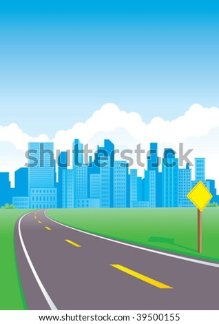 Road to the city with sign - stock vector