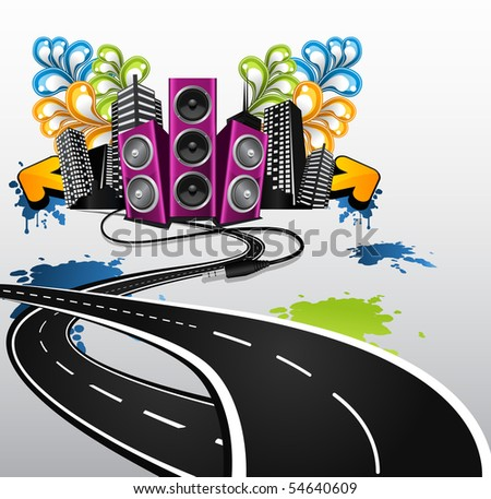 road to the party - stock vector