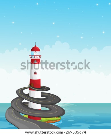 Road to top of the lighthouse by the ocean - stock vector