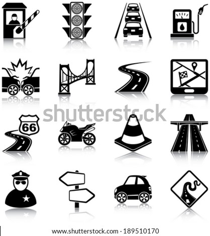 Road traffic related icons/ silhouettes - stock vector