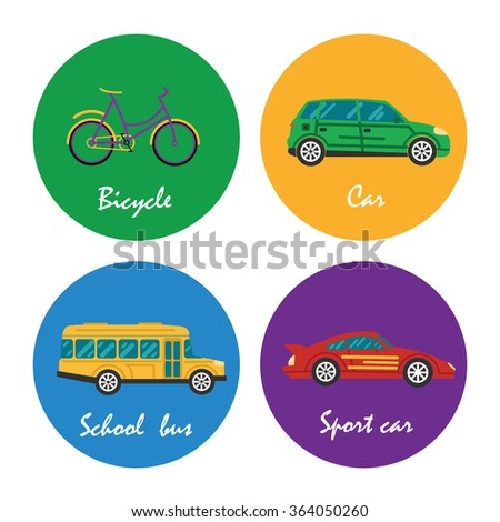 Road transportation icons set illustration - stock vector