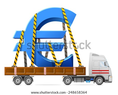 Road transportation of euro symbol. Big sign of money in back of truck. Qualitative vector illustration for banking, financial industry, money, economy, accounting, etc - stock vector