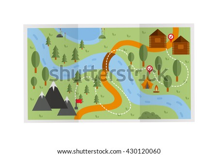 Road travel route map illustration. Travel route map vector and travel route map recreation concept. Flat design travel route map street cartography direction plan. Search pointer geography map. - stock vector