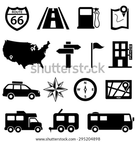 Road trip and travel icon set - stock vector