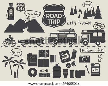 Road Trip Design Elementstravel Icon Set Stock Vector