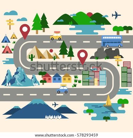 Road Trip Travel Route Map Landmark Stock Vector 578293459