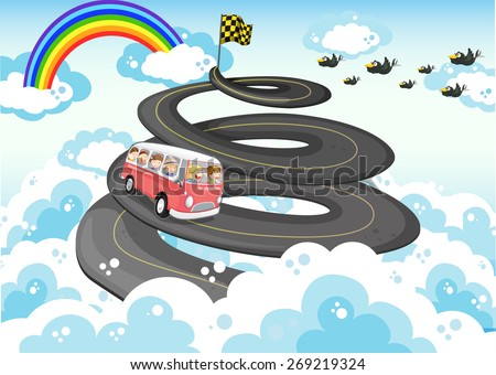 Road trip with sky and rainbow background - stock vector