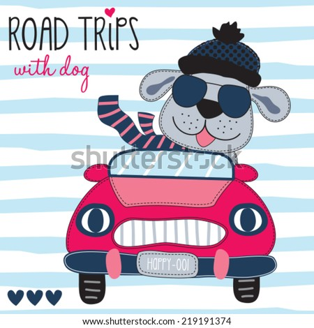 road trips with dog vector illustration - stock vector