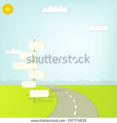 road with direction sign and clouds - stock vector