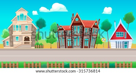 Road with houses. The sides repeat seamlessly for a possible, continuous animation for games and graphics. - stock vector