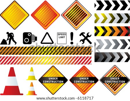 road work signs that could be used to show a web site is under construction - stock vector