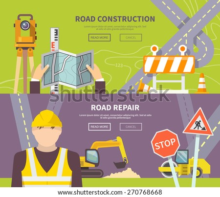 Road worker horizontal banner with flat construction and repair elements isolated vector illustration - stock vector