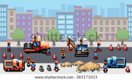 road works - pixel art scene video game style vector layer illustration