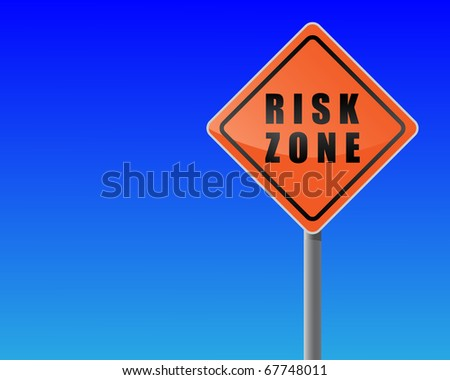 Roadsign risk zone sky background vector.