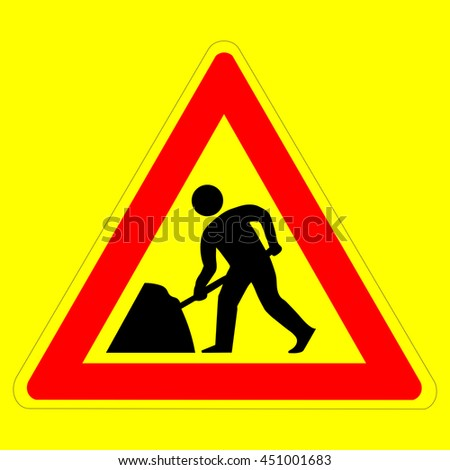 Roadworks sign, under construction. Warning red road sign, triangle shape with red border, working man isolated on a yellow background