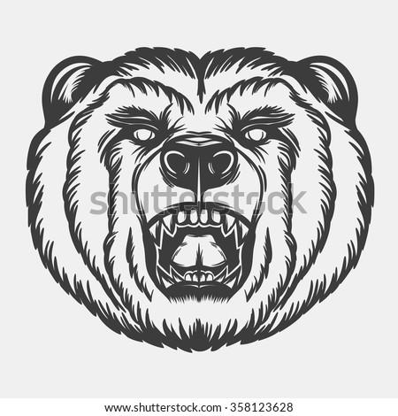 Roaring bear's head for your design. - stock vector