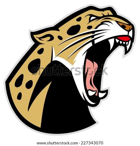 roaring leopard - stock vector