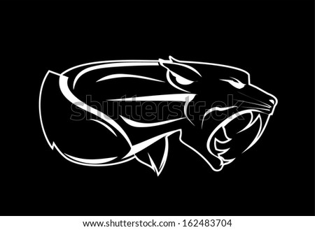 roaring rampage panther. muscular fang face beast, king of the night. - stock vector