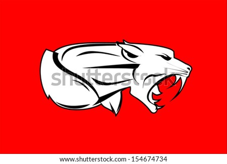 Roaring Rampage Tiger with the Strong Muscular Neck and Extreme Fangs  - stock vector