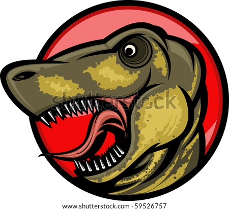 Roaring T-rex mascot! Separated into layers for easy editing. - stock vector