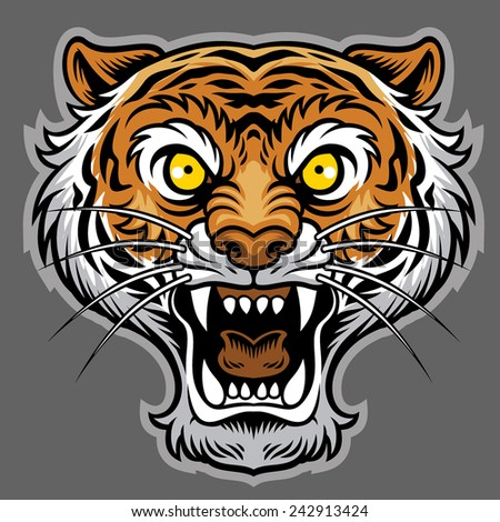 roaring tiger in classic tattoo style - stock vector