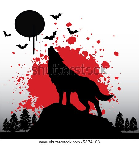 roaring wolf - stock vector
