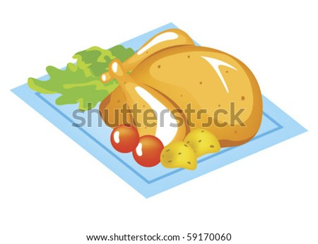 Roast chicken - stock vector