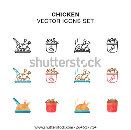 Roast Chicken, Chicken Legs and Wings icons set - illustration - stock vector
