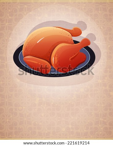 Roast chicken with crispy skin on a tray - stock vector