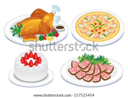 Roast turkey and  delicious food - stock vector