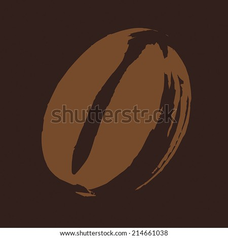 Roasted Coffee Bean illustration on dark brown background, hand drawn with paint & brush, flat graphic vector. Fully adjustable & scalable. - stock vector