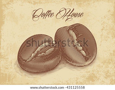 Roasted coffee beans engraved on the grunge texture background. Editable vector illustration.
