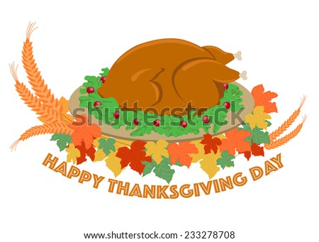 Roasted turkey and decorated element vectors for Thanksgiving holiday - stock vector