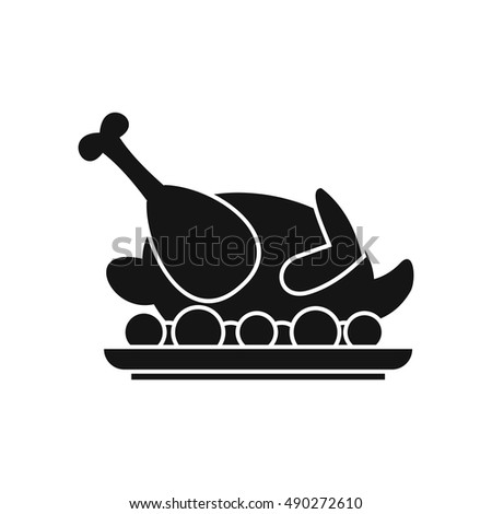 Roasted turkey icon in simple style on a white background vector illustration
