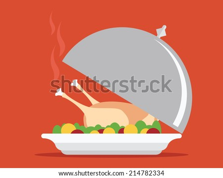 Roasted turkey on tray vector illustration for Thanksgiving - stock vector