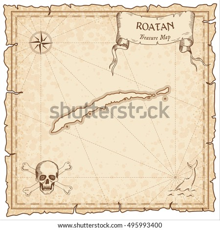 Roatan old pirate map. Sepia engraved parchment template of treasure island. Stylized manuscript on vintage paper.