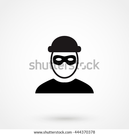 robber icon isolated on background. Modern flat pictogram, business, marketing, internet concept. Trendy Simple vector symbol for web site design or button to mobile app. Logo illustration - stock vector