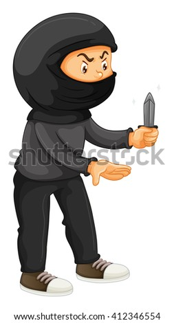 Robber in black holding a knife illustration - stock vector