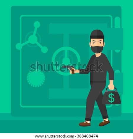 Robber with gun near safe. - stock vector