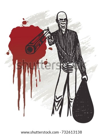 Robbery man holding gun with blood hand drawn