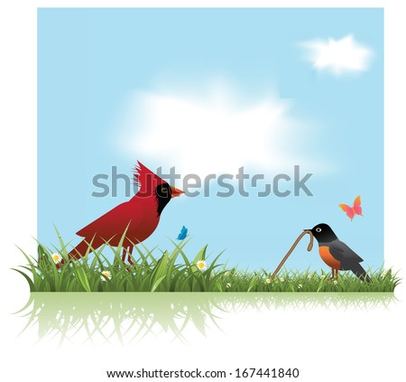 Robin and Cardinal spring background. EPS 10 vector, grouped for easy editing. No open shapes or paths. - stock vector