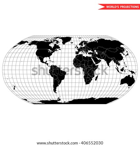 Robinson map projection of a world map which shows entire world at e as a flat image. Black and white world map vector illustration - stock vector