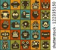Robot and monsters cell seamless background in retro style. Vector texture #2. - stock photo