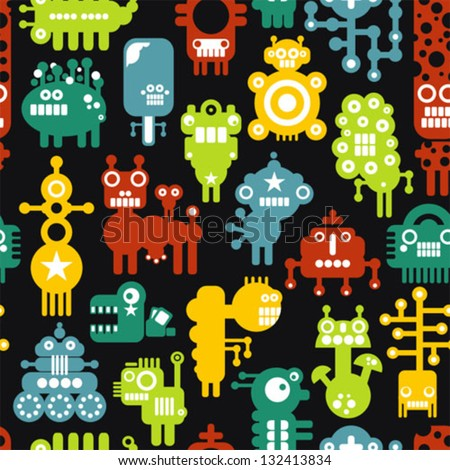 Robot and monsters cute seamless texture. Vector illustration. - stock vector