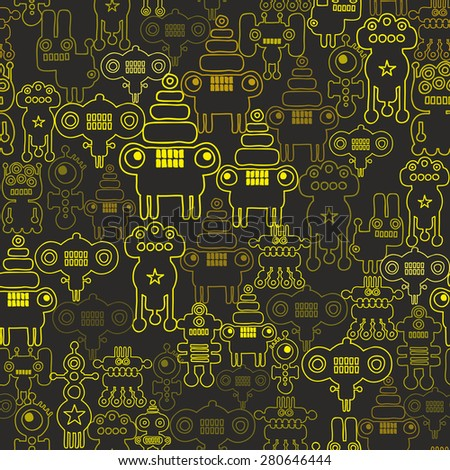 Robot and monsters seamless pattern. Vector texture with nanobots. - stock vector